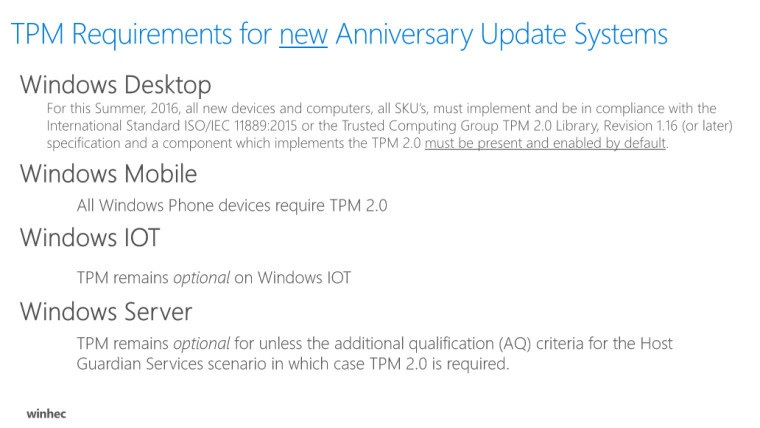 Windows 10 TPM requirements
