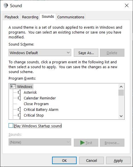 Windows 10 startup sound