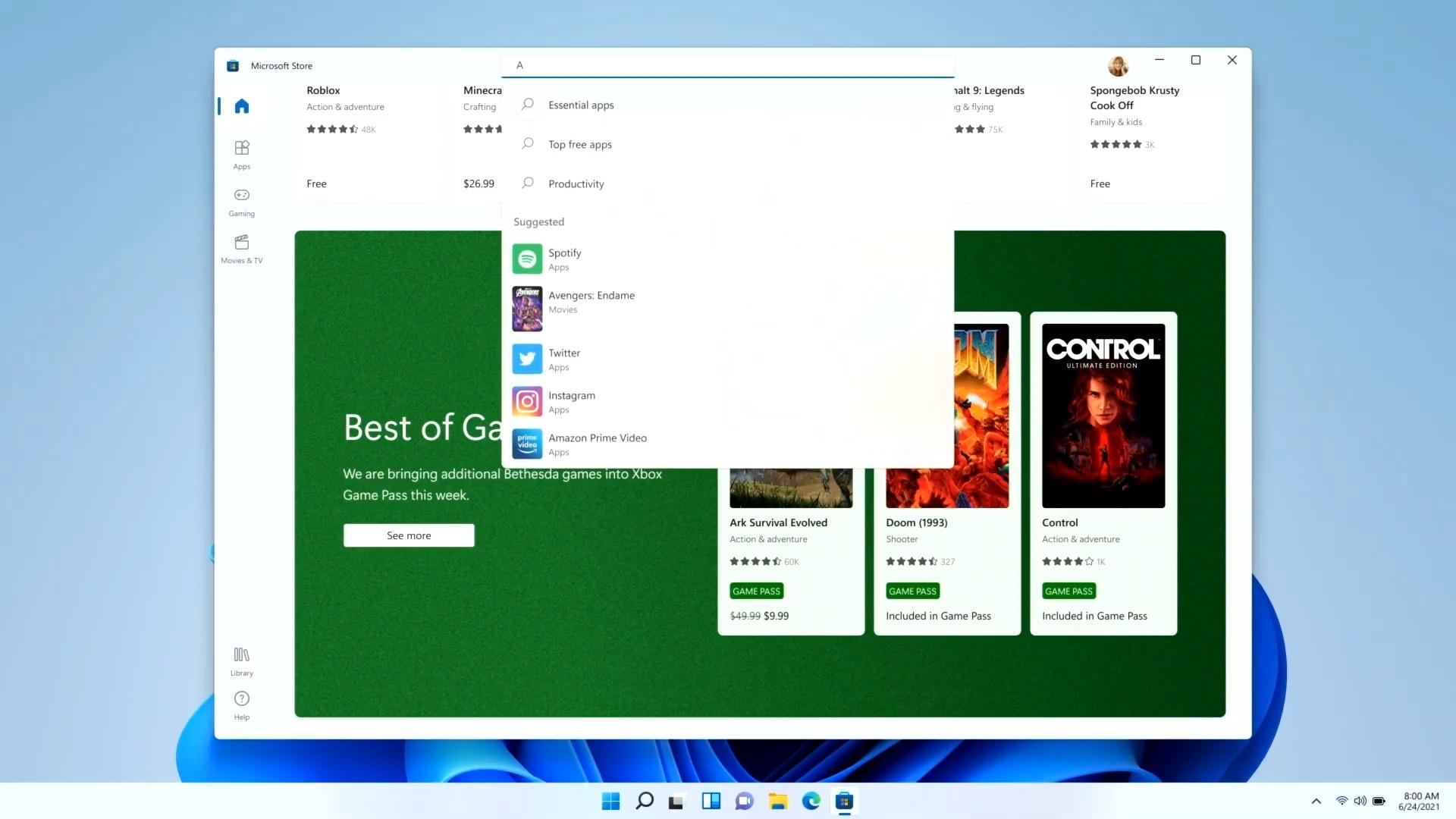 Windows 11 Store search bar