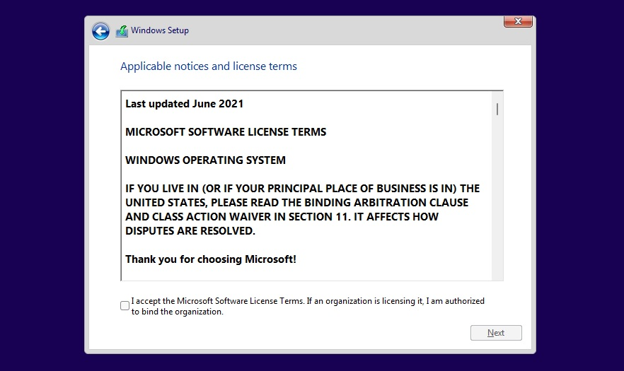 Windows setup agreement