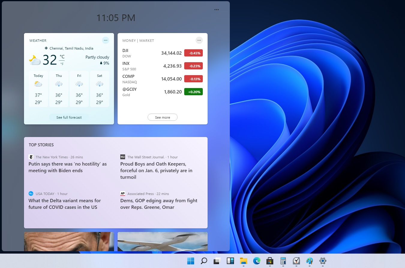 Windows widgets