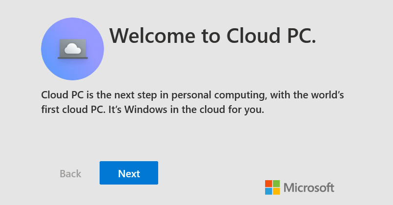 Cloud PC welcome