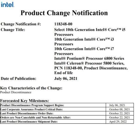 Intel CPU discontinued