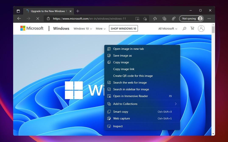 Microsoft Edge context menu