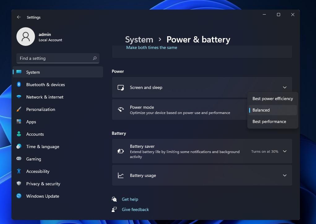 Power modes on Windows 11