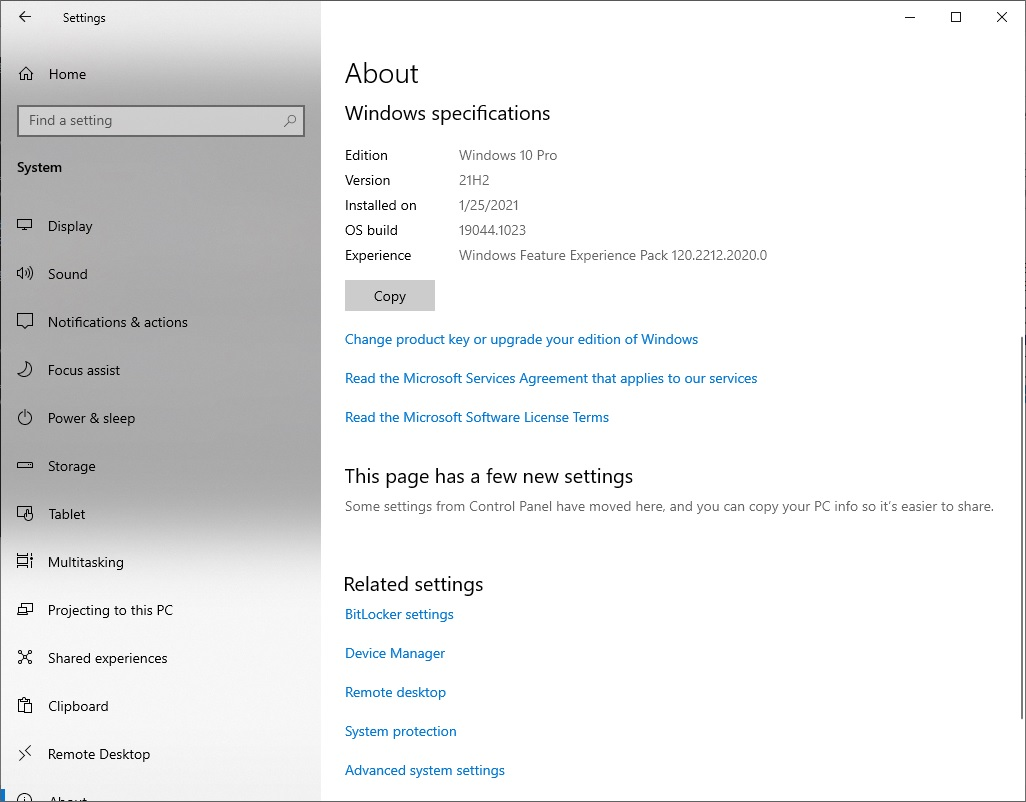 Windows 10 21H2 Build 19044