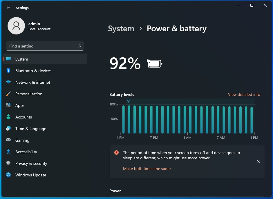 Windows 11 battery usage