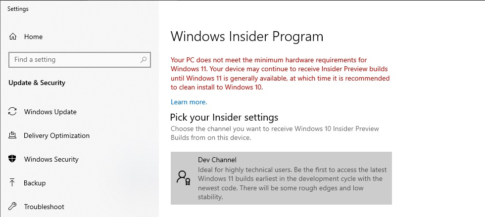 Windows 11 on unsupported devices
