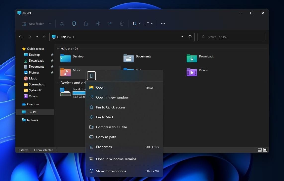 Windows 11 right click menu