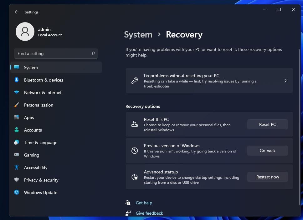 Windows 11 roll back process