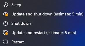 Windows Update estimated time