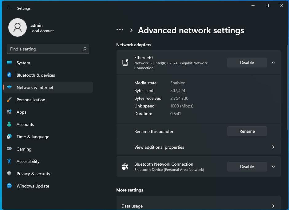 Windows advanced network settings
