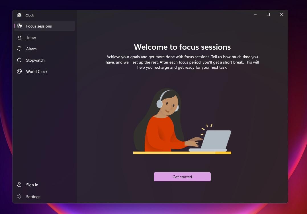 Focus Sessions in Clock