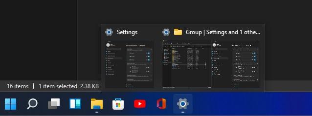 Taskbar grouped