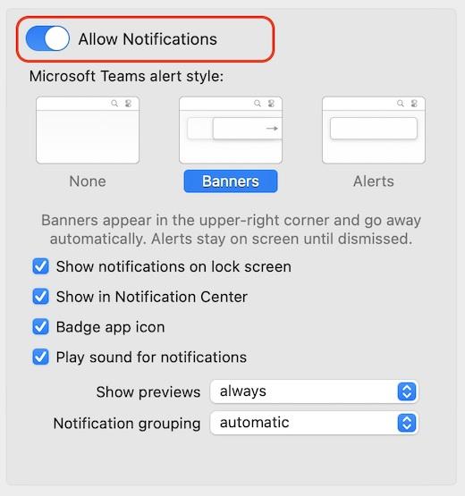 Teams native notifications