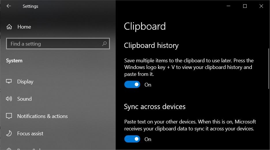 Windows 10 Clipboard settings