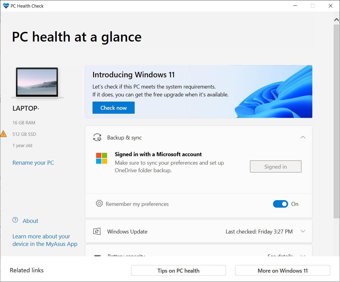 Windows 11 compatibility check