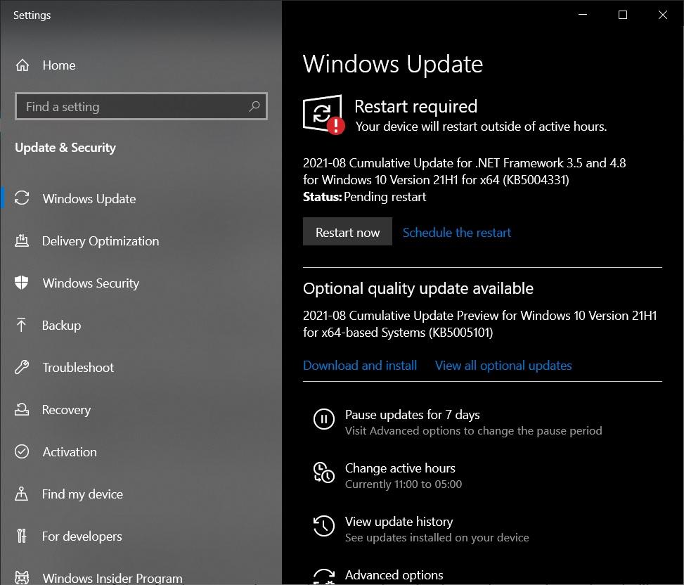 KB5005101 Windows Update