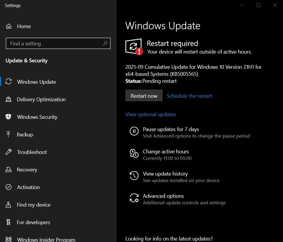 KB5005565 update