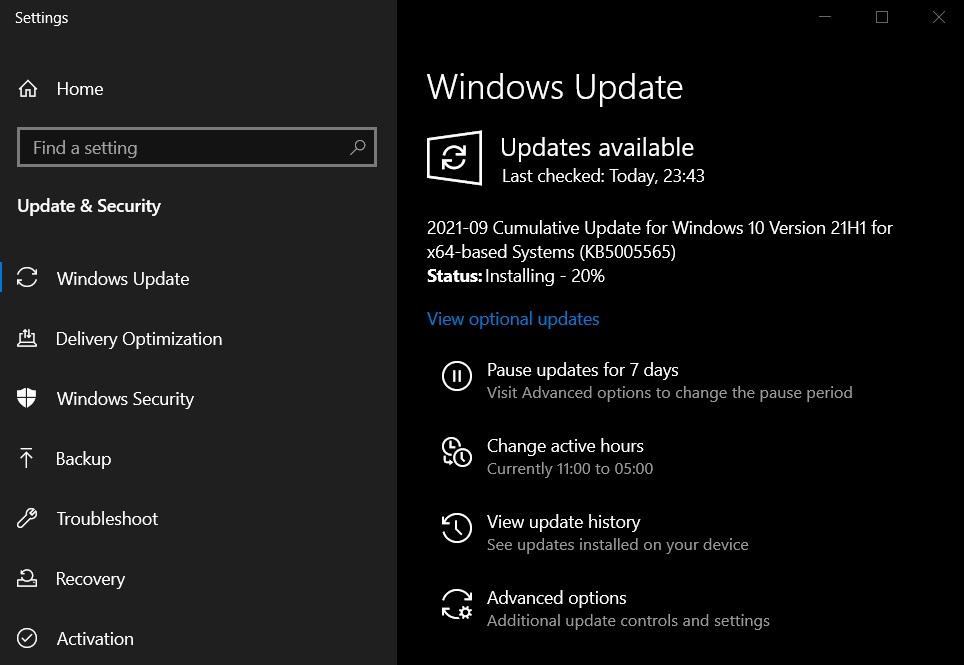 September 2021 Windows Updates
