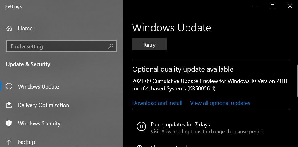 KB5005611 update