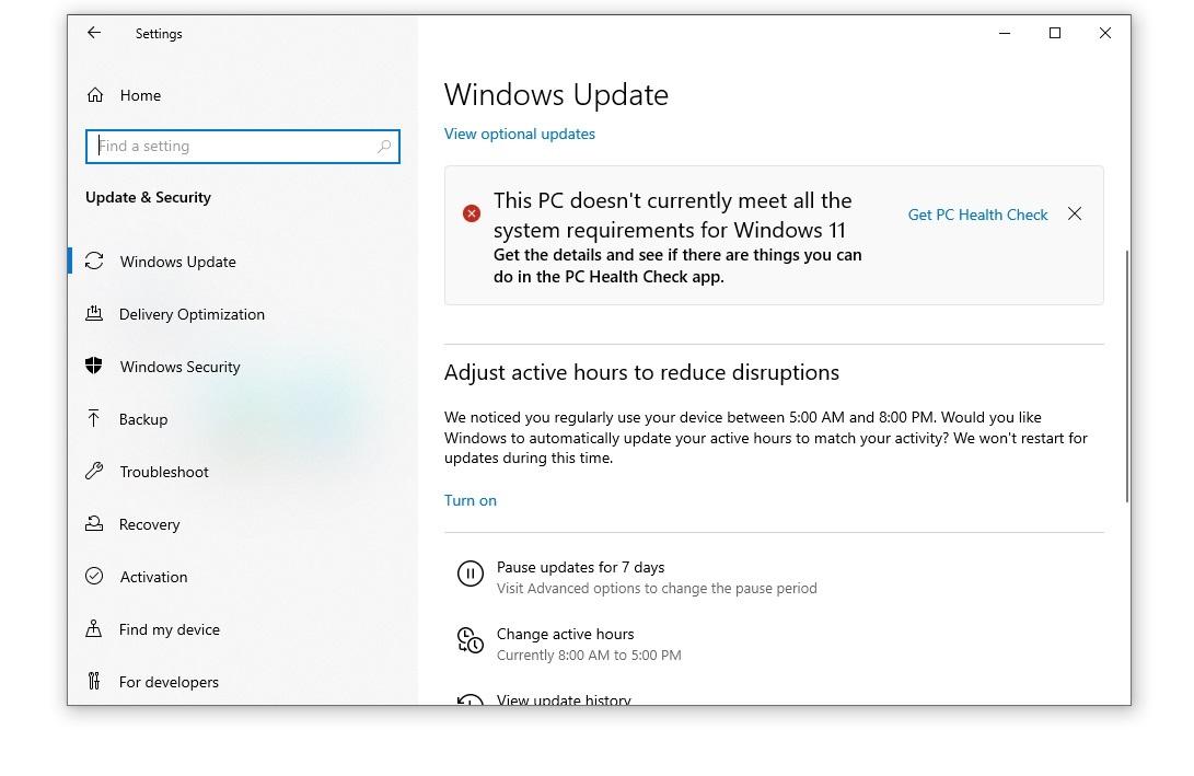 PC não atende aos requisitos do Windows 11