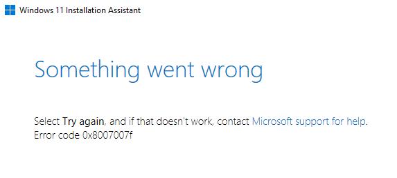 Windows 11 0x8007007f