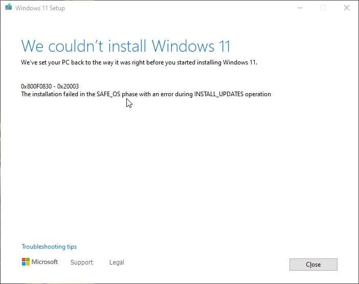 Windows 11 Ox8COF0830