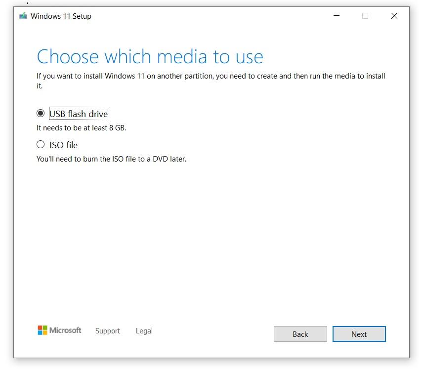 Unidade USB do Windows 11