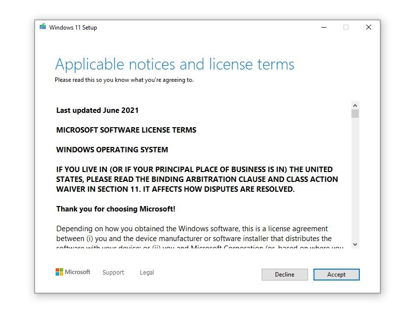 Windows 11 agreement