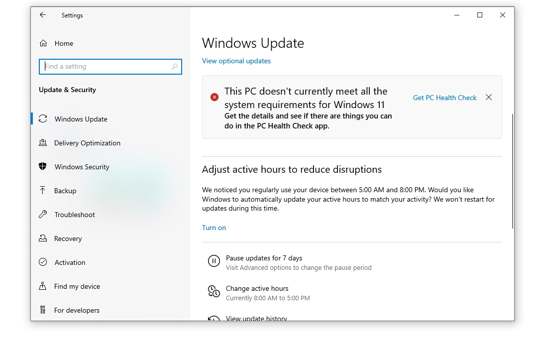 Windows 11 requirement error