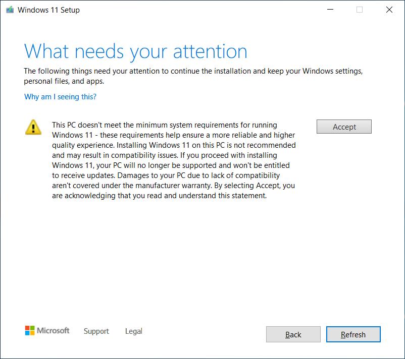 Aviso do Windows 11