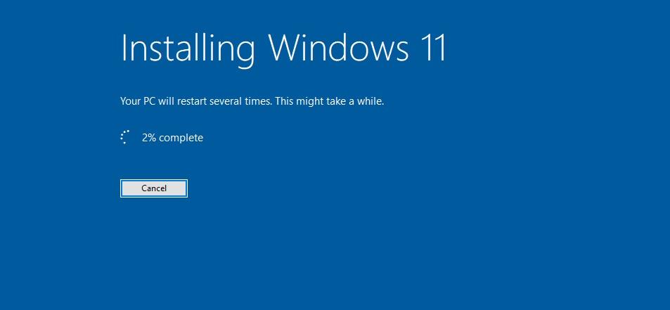 Windows install screen